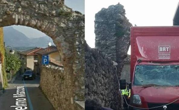 Il furgone non ci passa, arco del 1400 abbattuto da un corriere