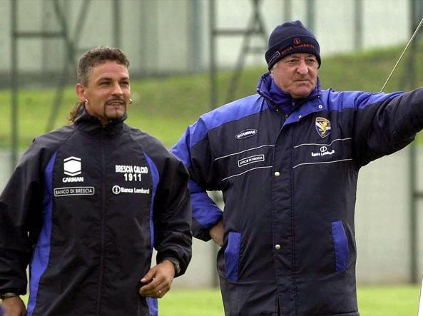 Roberto Baggio e Carlo Mazzone (Ansa)