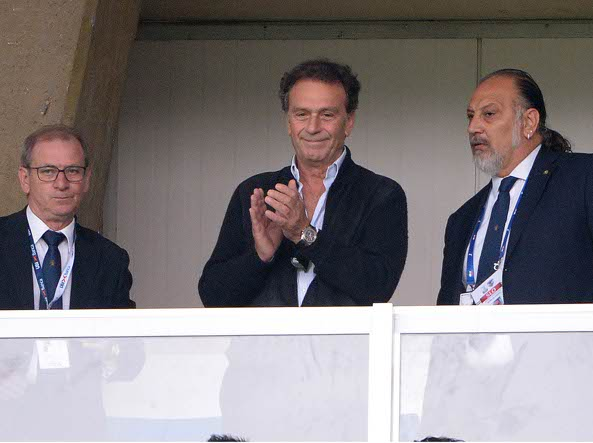 Massimo Cellino, nuovo proprietario del Brescia, al suo esordio al Rigamonti (Zanardelli/Lapresse)