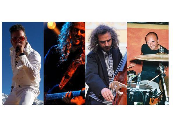 I componenti della Tony Mac Music Show, in una foto postata sulla loro pagina Facebook. Da sinistra Antonio Levrone, 40 anni, Paolo Papini, 31, Marco Inaudi, 40 e Gianpaolo Giacobbe, 46, rimasti uccisi in un incidente stradale sulla A21